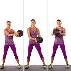 Круговые вращения прямыми руками с медицинским мячом
