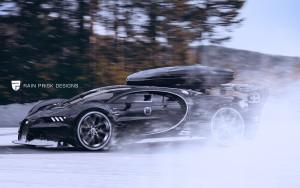 Bugatti Chiron с лыжным боксом